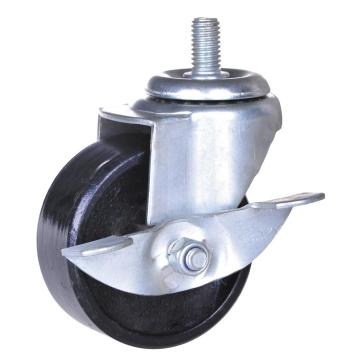 3incn screw caster with iron wheel with brake