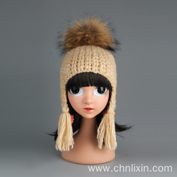 Newborn beanie fur ball ear flap winter hats