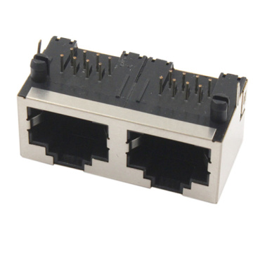 RJ45 JACK side entry 1X2Port shield without EMI&LED