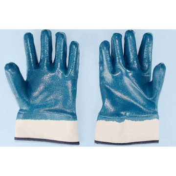 Blue nitrile safety cuff Flannel lining gloves 130g