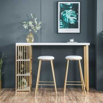 120*40*110cm Golden Iron Casting Metal Bar Counter Tall Coffee Pub Drink Table Chair Barstool Seat Home Dinning Room Furniture