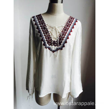 Casual Round Neck with Tassel Loose Blouse