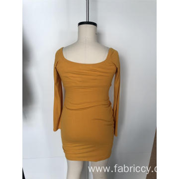 Knit sheath dress with long sleeves
