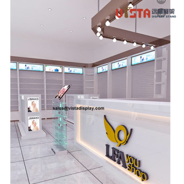 Cosmetics Store Wood Flooring Beauty Product Display Stand
