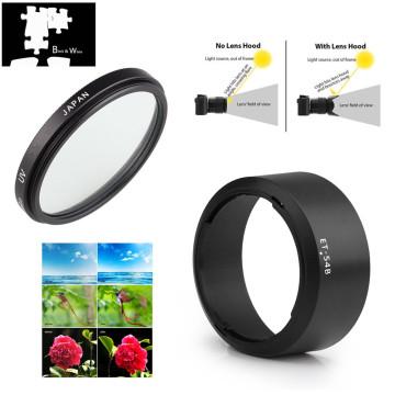 52mm UV Filter Lens Hood for Canon EF-M 55-200mm f/4.5-6.3 IS STM Lens for EOS M200 M100 M50 M10 M6 M5 M3 M2 M