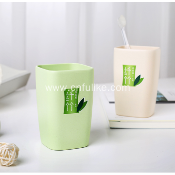 Square Bamboo Fiber Plastic Travel Toothbrush Cup