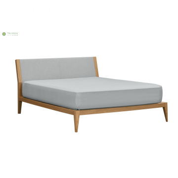 Mwanga Walnut Wood Double Bed na Grey Headboard