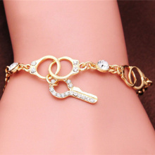 Hot Sale Gold Color Handcuffs & Key Charm Bracelets for Women Fashion Crystal Link Chain Cuff Bracelet Vintage Party Jewelry