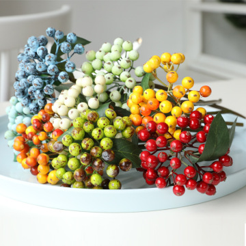 Mini Artificial Berries Flower Christmas Fruit Fake Berry Foam Flowers Wedding Home Table Plant Arrangement Decor Photo Props