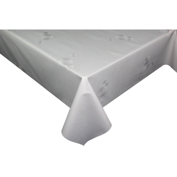 Solid Embossed Fabric White Plastic Tablecloth