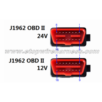 J1962 OBD 24V-12V connector with straight pin