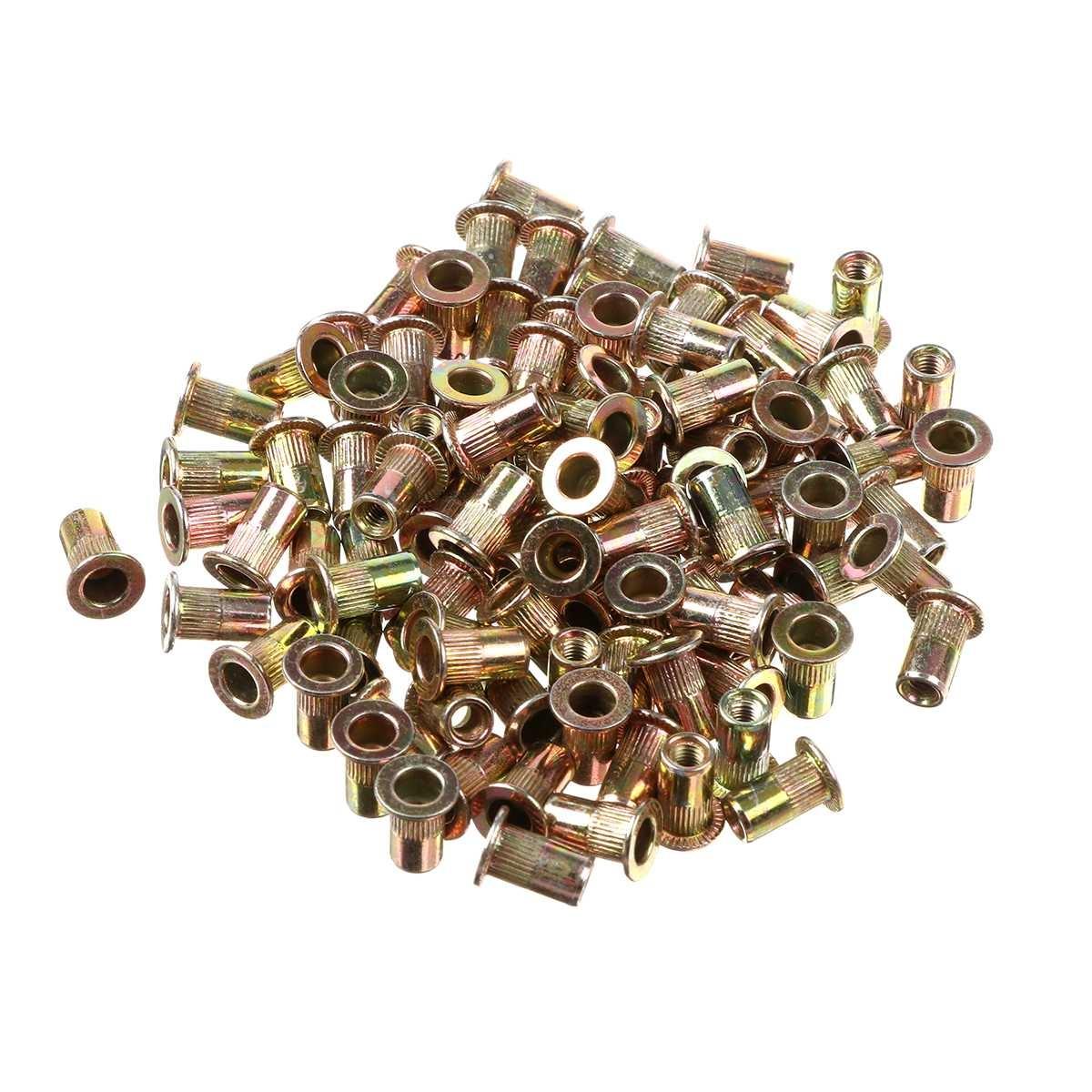 100/165/300 PCS Carbon Steel Zinc Plated Rivet Nuts Flat Head Threaded Rivet Insert Nutsert Rivet Nut Assortment Kit M3 to M12