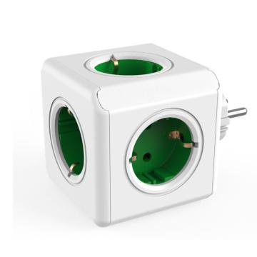 PowerCube Power Strip USB Socket EU Plug Multi Smart Plug Extension EU Electrical 16A 4 Outlet 2.1A Home Charging Gray Household