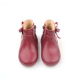 Christmas Cherry Red Leather Kids Boots