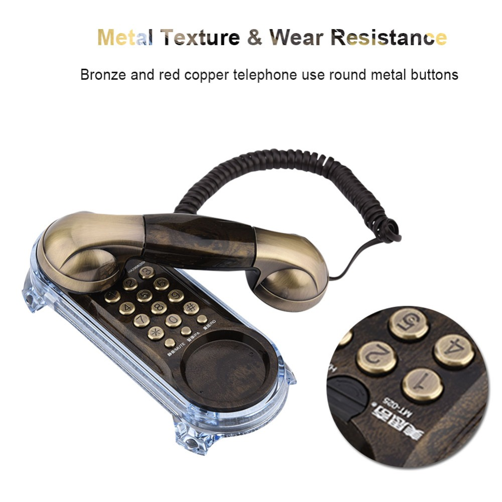 mini telephone Retro Wall Mounted Telephone Corded Phone Landline Fashion Antique Telephone for Home Hotel telefono fijo para