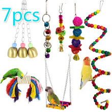 New 7Pcs Bird Toys Bird Parrot Swing Toy Colorful Chewing Hanging Hammock Swing Bell Pet Climbing Ladders Toys Pet Supplies