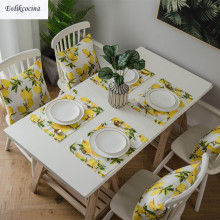 Free Shipping Yellow Lemons Polyester Placemat Kitchen Accessories Mat Pads For Dining Table Mantel Individual Salvamanteles