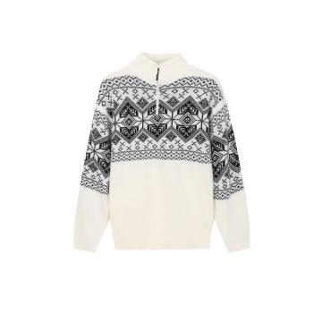 Men's Knitted Jacquard Half-Zip Lined Pullover