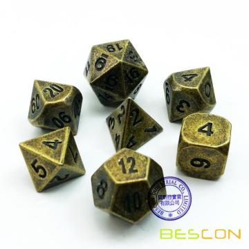 Bescon Ancient Brass Solid Metal Polyhedral D&D Dice Set of 7 Antique Copper Metal RPG Role Playing Game Dice 7pcs Set