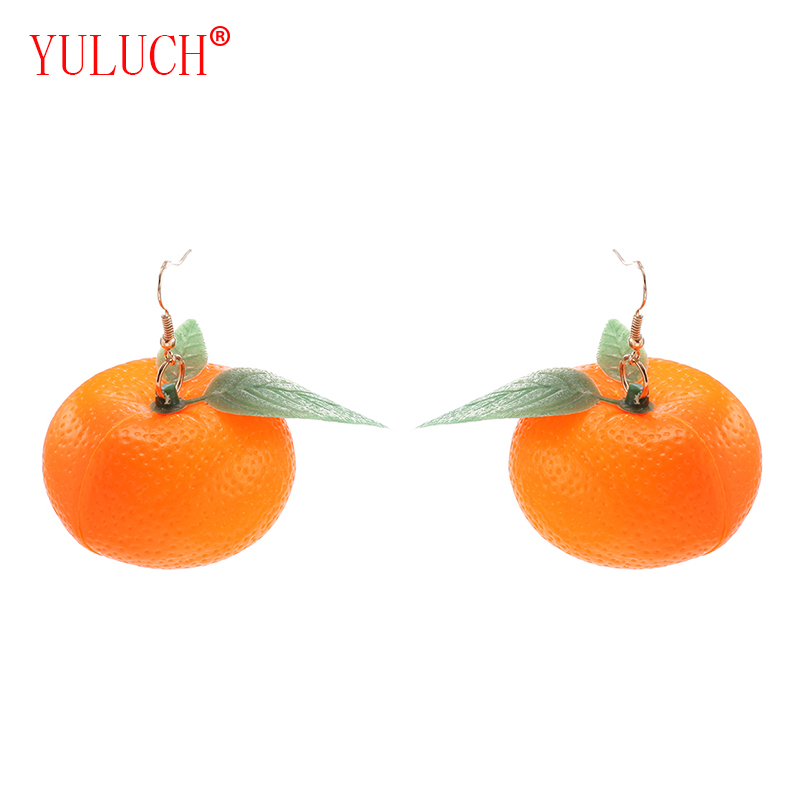 YULUCH New arrival fashion fresh woman trinkets Chinese handmade plastic 1 pair of small kumquat and citrus fruit girl gifts