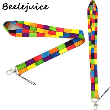 Rainbow lattice Neck Strap Lanyard keychain Mobile Phone Strap ID Badge Holder Rope Key Chain Keyrings cosplay Accessories Gifts