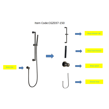 Brass Shower Rail & Hand Shower Set