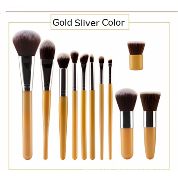 11Pcs Gold Nylon Hair Makeup Brush Kit