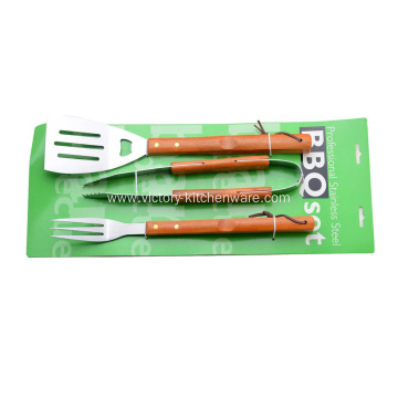 BBQ tools with wooden handle in paper card