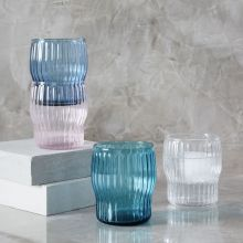 Pink Ridged Stackable Glassware