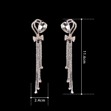 Fashion Rhinestone Heart-shaped Crystal Long Earrings