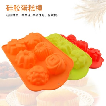 Food Grade Silicone 6-Cavity Flower Shape Cake Mold