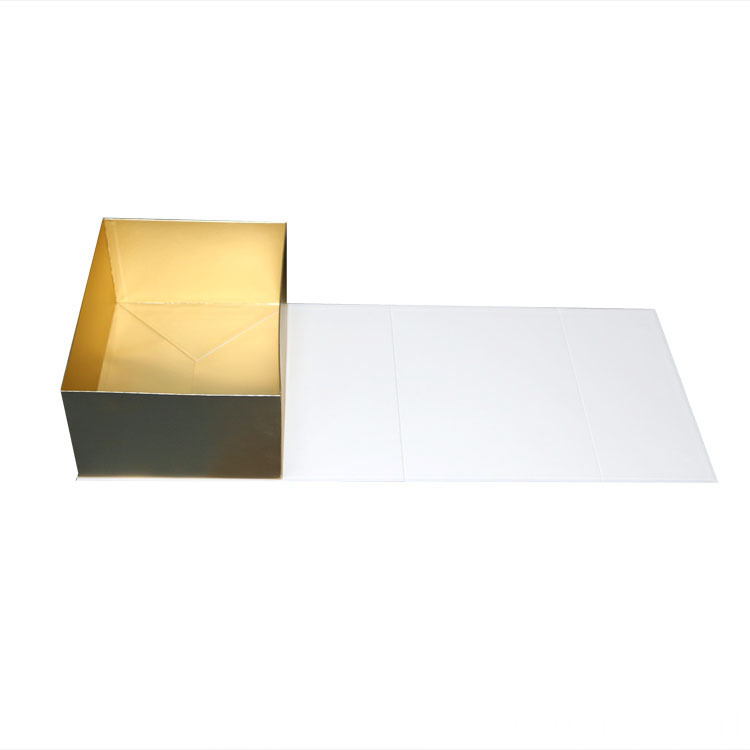 Luxury White Callapsible Gift Paper Box With Ribbon