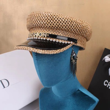 Fashion sun visor with pearl design hats caps