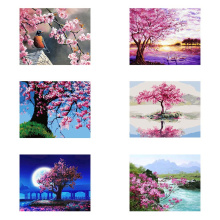 Classic Pink Purple Series Paint By Numbers Flower For Adults DIY Painting Cherry Tree Cherry Blossom Road Pink Peach Trees