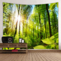 Forest Tapestry Trees Wall Hanging Nature Style Sunlight Quiet Tapestry for Livingroom Bedroom Home Dorm Decor Green