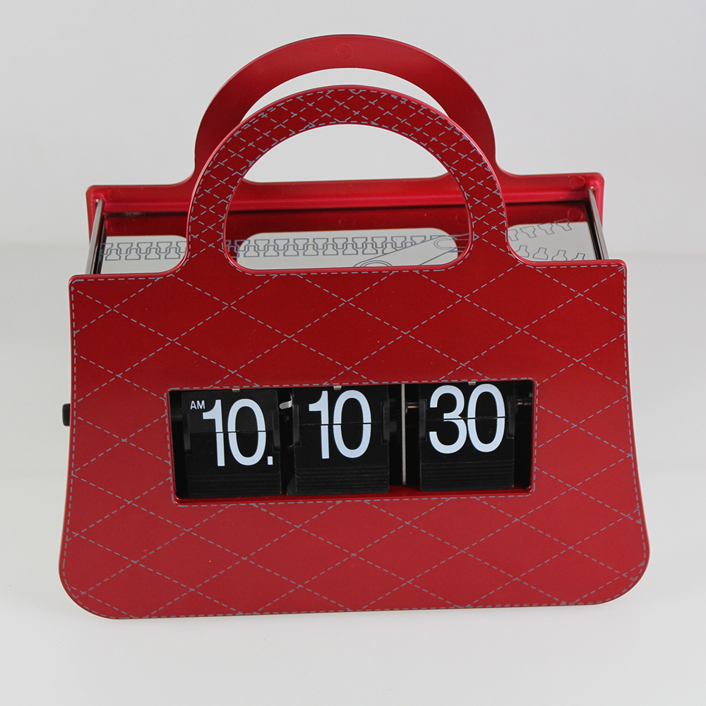 Red Handbag Flip Clock For Deco