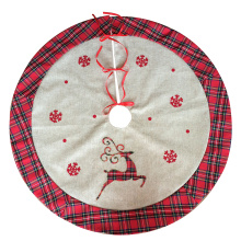 Burlap reindeer tree skirt holiday decoration