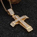 Mens Stainless Steel Crystal Gold Cross Necklace
