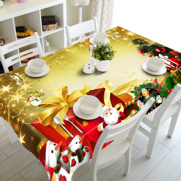 Rectangular 3D Tablecloth Red Exquisite New Year Present Pattern Dustproof Thicken Cloth Christmas Party Table Cloth