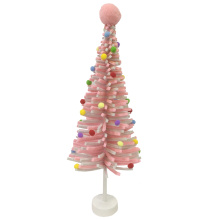 Mini pink felt christmas tree desktop decoration