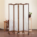 White Traditional Chinese Style Wooden Privacy Screen Folding Room Divider With 4 Panels