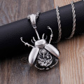 Men Stainless Steel Steampunk Beetle Necklace For Sale