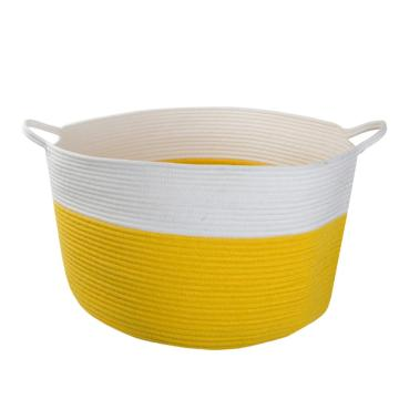 Cotton Rope Woven Round Storage Basket with Handle