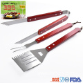 3 pcs set wooden handle bbq utensils