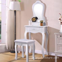 White Makeup 1 Mirror 3 Drawer Stool Shabby Chic Wooden Dressing Table Designs
