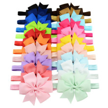 MIXIU 20pcs/lot Colorful 4.3 Inch Large Lovely Baby Kids Bowknot Headband Elastic Hair Band Hairband Children Hair Accessories