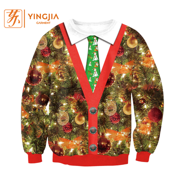 Tie Round Neck Digital Print Christmas Pullover Sweatshirts