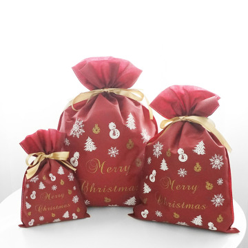 Non-woven Christmas Fairy Red Christmas Drawstring Bags