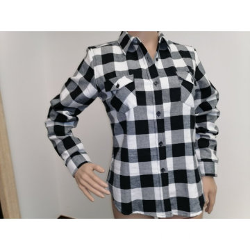 Warm cotton y/d check flannel long sleeves blouse