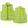 Safety vest with long zip